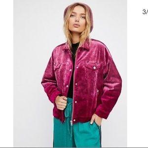 NEW Free People velvet trucker jacket XS S